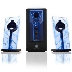 GOgrooveBassPULSE 2.1 Computer Speakers with Blue LED Glow Lights and Powered Subwoofer – Gaming Speaker System for Music on Desktop,Laptop, PC with 40 Watts, Heavy Bass