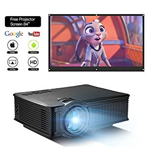 DOACE P1 HD 1080P Video Projector Indoor Outdoor with Portable Projector Screen 84″