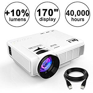 DR.J (2018 Upgraded) +10% Lumens 4Inch Mini Projector with 170″ Display