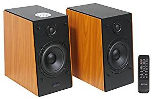 These Pair Rockville HD5 RMS Powered Bluetooth Bookshelf Home Theater Speakers