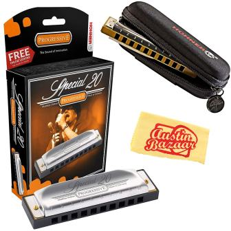 and F D Lee Oskar by Tombo Major Harmonica 5-Pack with Free Case Keys G C A