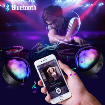 Little Speaker Big Sound Full USB Connectivity Your Spirit Space SYNC-IT Bluetooth Portable Wireless Party Speaker with Disco Light Show Multi-Colored LED Lights