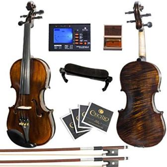 4//4 Full Size Basswood Acoustic Violin Starter Kit with Hard Case Bow Rosin Fiddle Outfit Classical Strings Tuner Shoulder Rest for Beginners and Students White Violin Set
