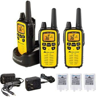 Black//Yellow, Pair Pack and NOAA Weather Alerts and Weather Scan Midland 50 Channel Waterproof GMRS Two-Way Radio SOS Siren Long Range Walkie Talkie with 142 Privacy Codes